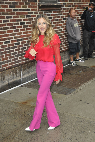 Sarah Jessica Parker in Red and Pink from Prabal Gurung