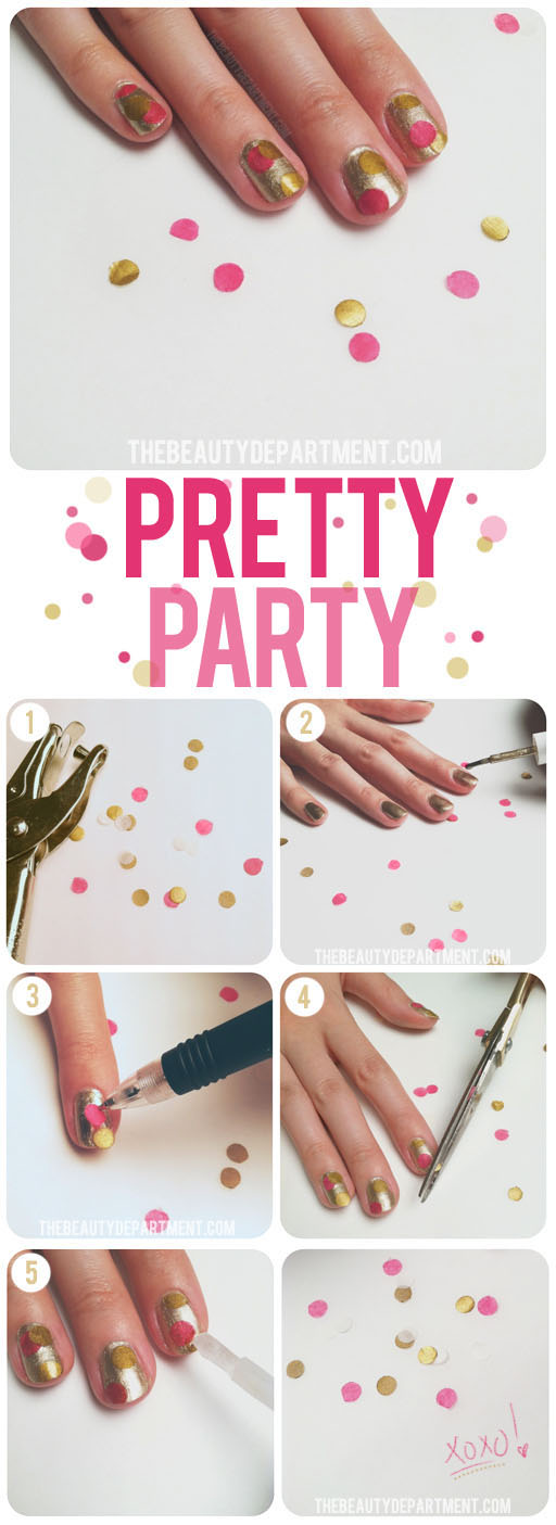 Sliver Nails with Confetti