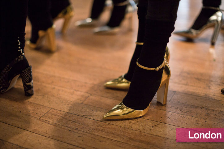 Stylish Shoe Trend from New York Fashion Week: Emilia Wickstead's Gold Ankle-Strap Heels