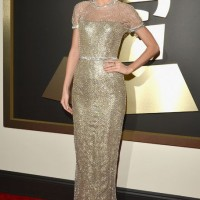 Taylor Swift's Gilded Metallic Chain-mail Gucci Gown at the Grammys Red Carpet