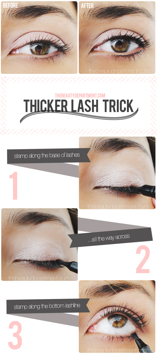 Useful Makeup Tutorials for Sophisticated Looks: Thicker Lashes Trick