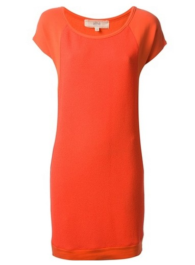 VANESSA BRUNO ATHÉ casual shift dress in a persimmon shade of orange