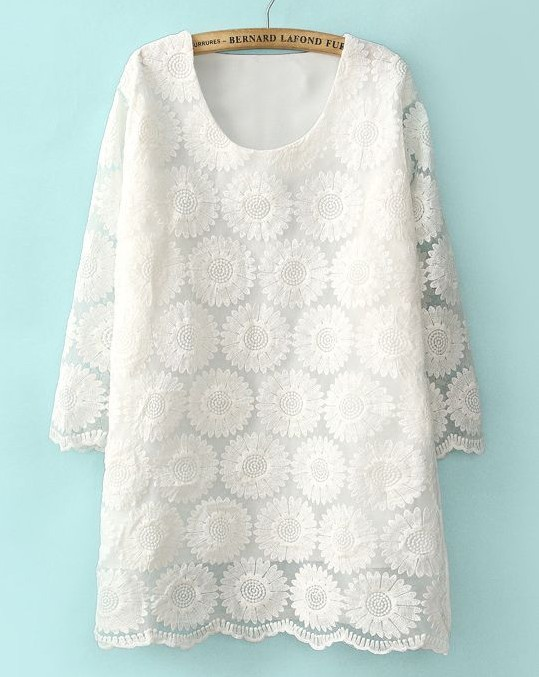 White Half Sleeve Lace Dress with Round Neck