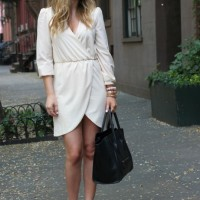 White Wrap Dress with Black Sandals