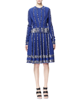 Alexander McQueen Snake-Print-Stripe Cardigan and Full Dress