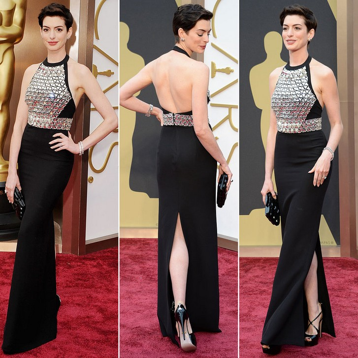 Anne Hathaway\'s Crystal-Embroidered Gucci Gown at the Academy Awards ...