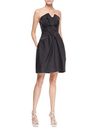 Armani Collezioni Peaked Strapless Taffeta Dress