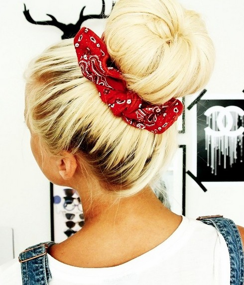 Back Bun with a Bandana
