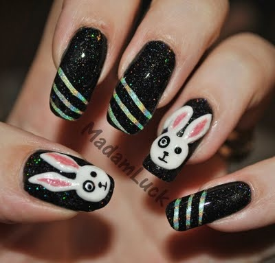Black Nails with Bunnies