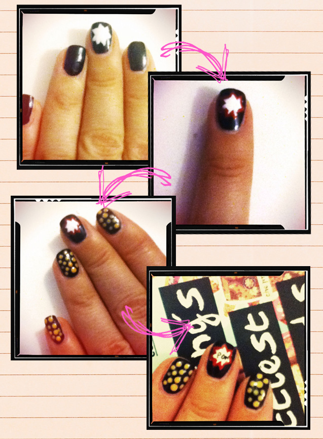 Black and Gold Nails with Stars