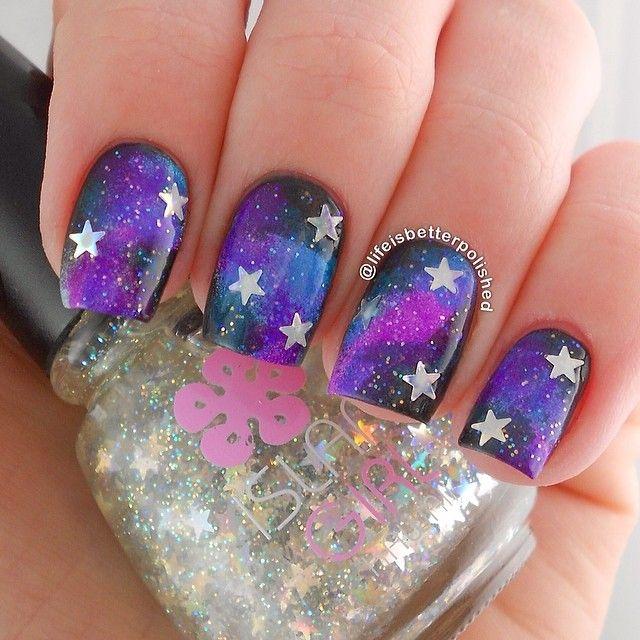 Black and Purple Galaxy Star Nails