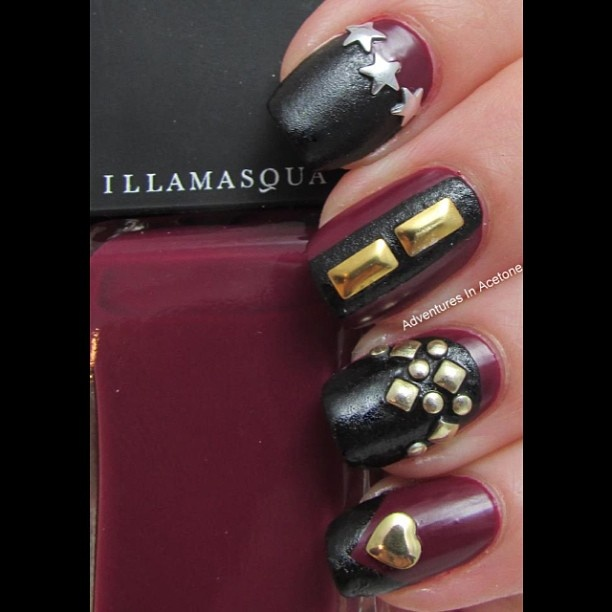 Black and Purple Nails with Studs