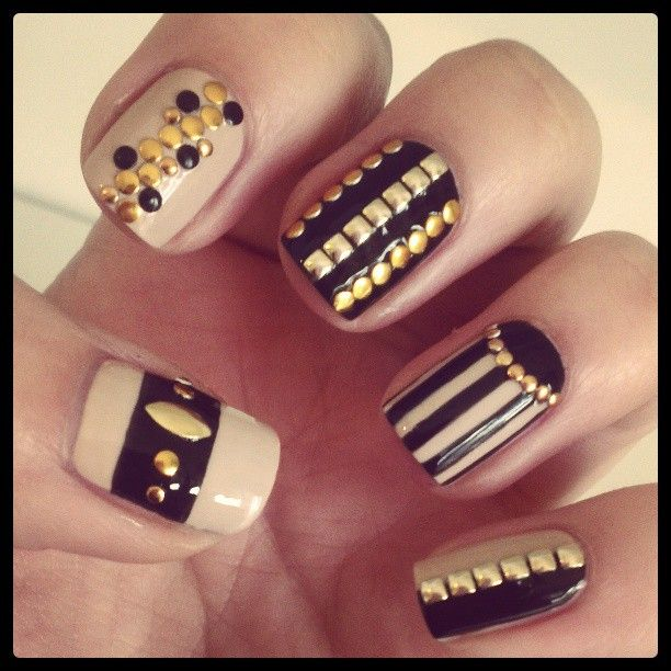 Black and White Nails with Golden Studs