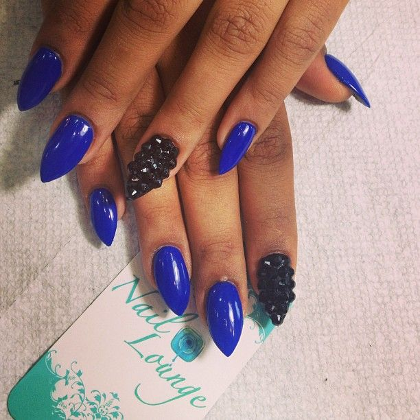Blue and Black Nails