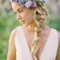 Blunt Braid with Purple Flowers
