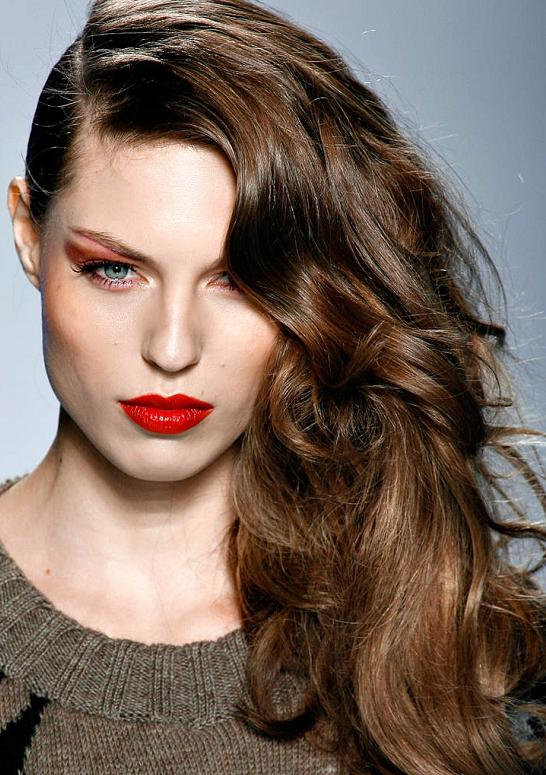 Brown Hair with Deep Side Part