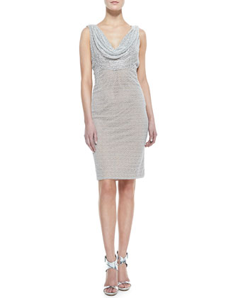 Carmen Marc Valvo Sleeveless Cowl & Beaded Neck Cocktail Dress