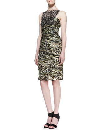 Carmen Marc Valvo Sleeveless Lace Overlay Cocktail Dress