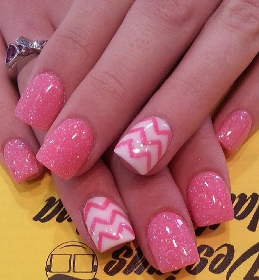 Chevron Glitter Pink Nails