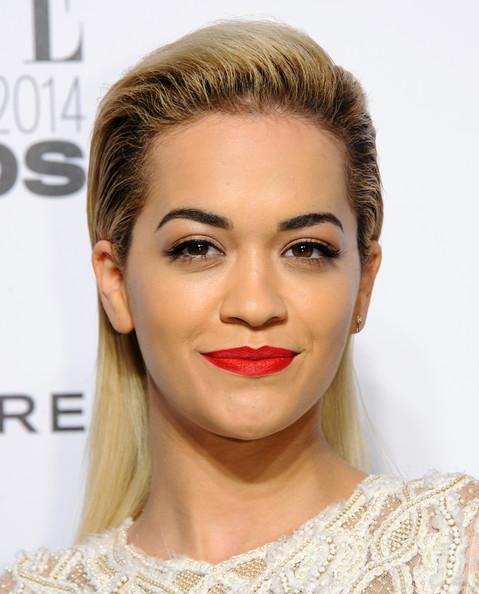Chic Back-teased Hairstyles for Elegant Women: Rita Ora Long Straight Cut