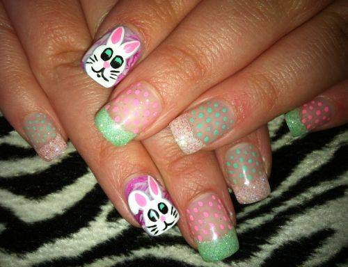Dot and Bunny Nails
