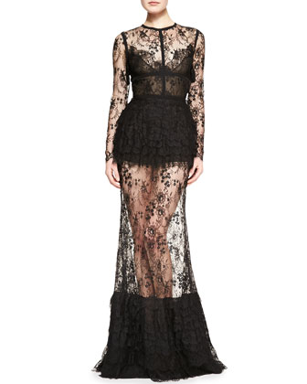 Elie Saab Sheer-Skirt Lace Long-Sleeve Gown