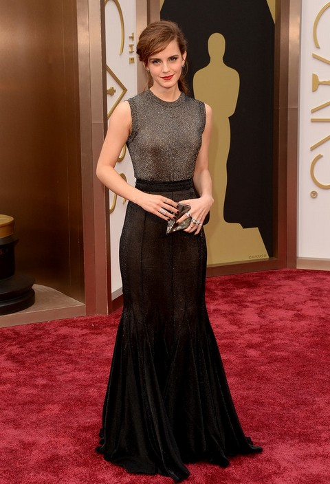 Emma Watson\'s Metallic Vera Wang Collection Dress at the Academy ...