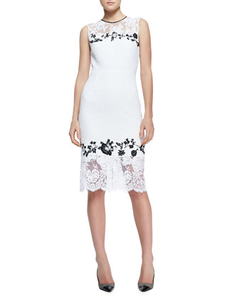 Erdem Sleeveless Fitted Lace Sheath Dress