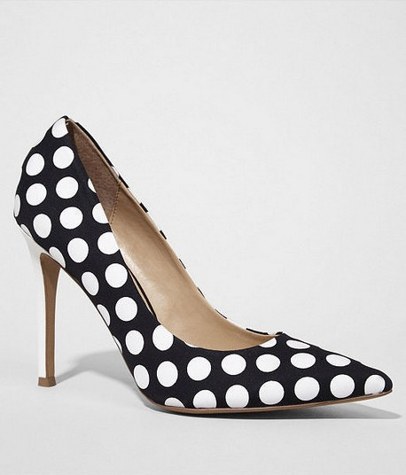 Express Black and White Polka-Dot Pointed-Toe Pumps ($88)