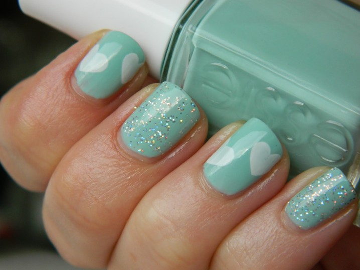 Glitter Mint Nails with Heart Shape