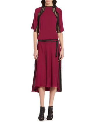 Gucci Fuchsia Silk Georgette Mesh Dress