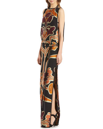 Gucci Nouveau Art Flower Jacquard Gown