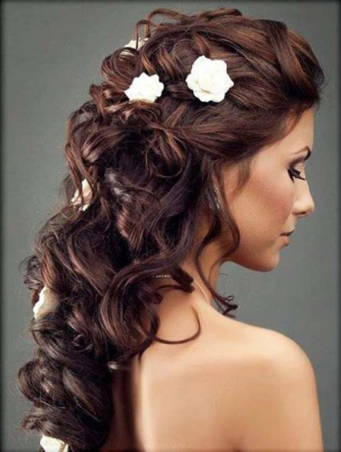 Half Up Half Down Wedding Hairstyles half up half down wedding hairstyle for black hair Half Up Half Down With Small Flowers