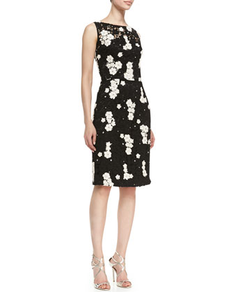 Kalinka Sleeveless Floral Contrast Cocktail Sheath Dress