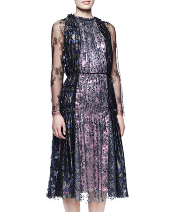 Lanvin Metallic Lace Tea-Length Dress