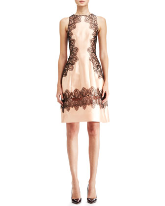 Lela Rose Embroidered A-Line Halter Dress