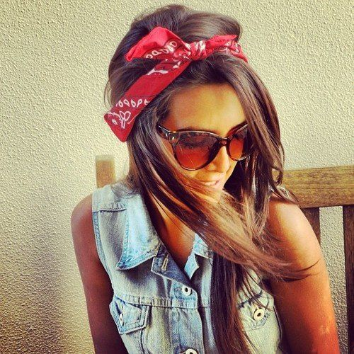 Long Straight Hair with a Bandana
