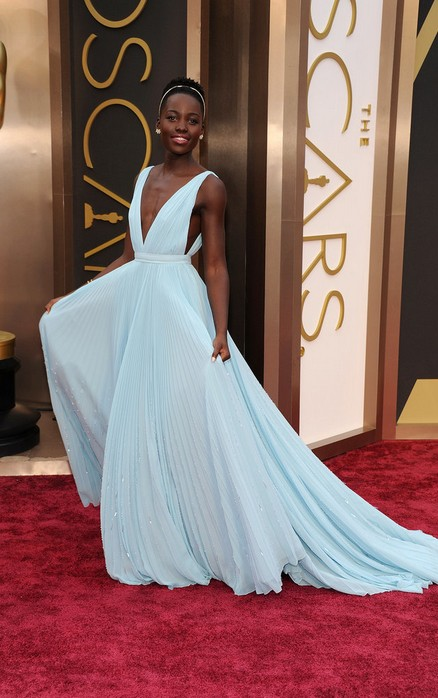 Lupita Nyong O Pastel Blue Prada Dress At The 2014 Oscars