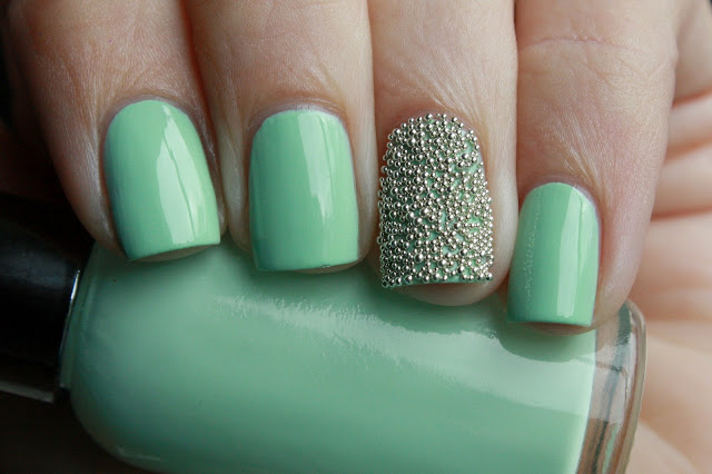 Mint Nails with Beads