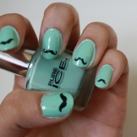 Mint Nails with Mustache