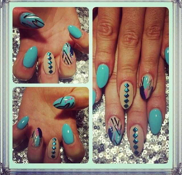 Top 13 blue pointy nails pretty designs mismatched nails prinsesfo Images