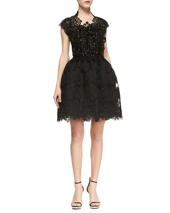 Naeem Khan Short Sleeve Beaded Bodice Lace Party Dress