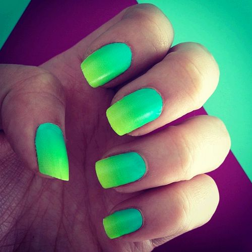 24 Bright Neon Color Ombre Nail Designs - crazyforus |Neon Blue Nails