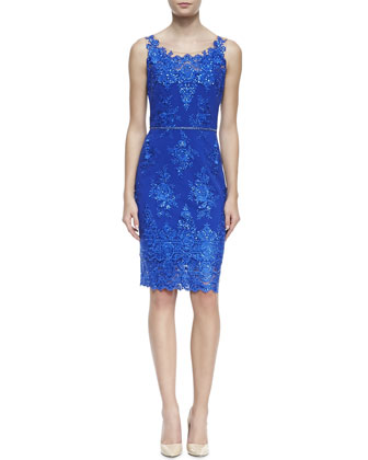 Notte by Marchesa Embroidered Lace Cocktail Dress with Skinny Belt
