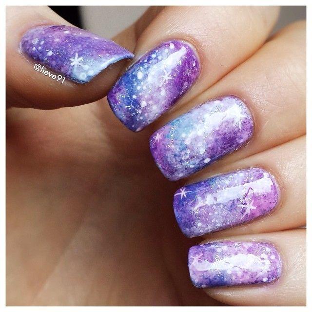 Pastel Galaxy Nail Design