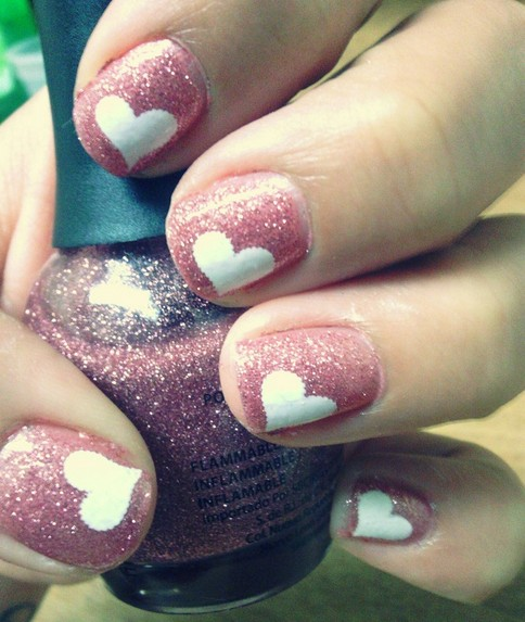 Pink Nails with White Heart shape