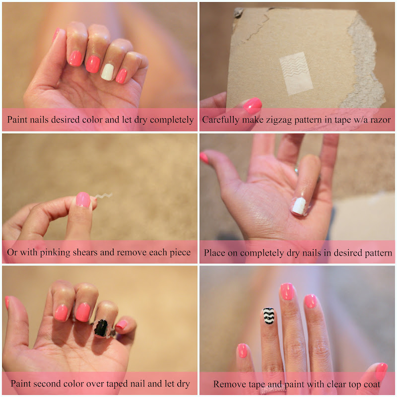 Pink Nails with Zigzag Pattern