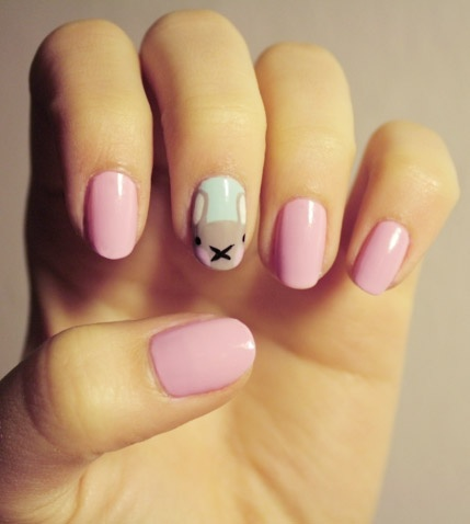 Pink Nails with a Bunny