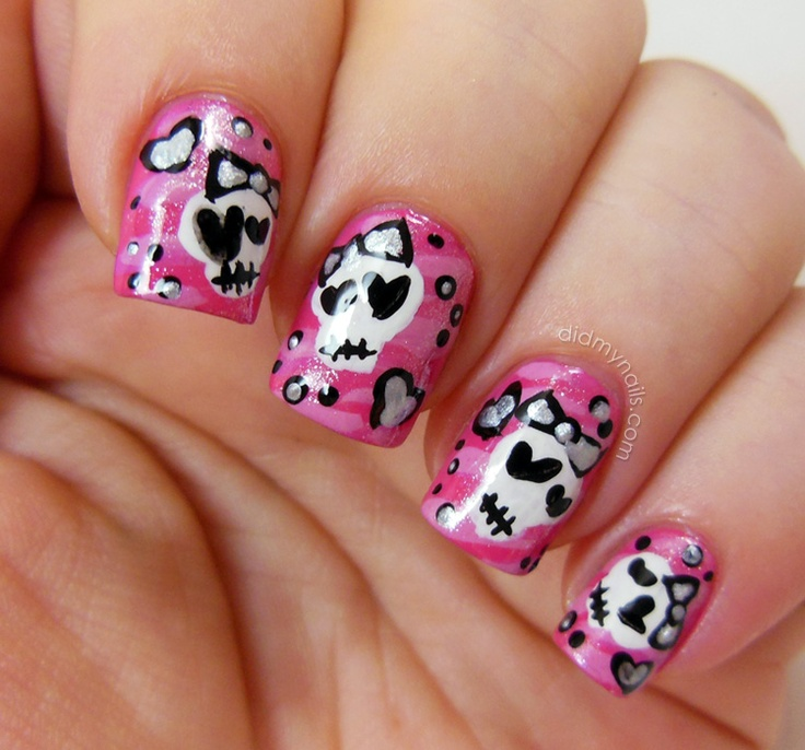 Skull Design Nails Gallery Easy Nail Designs For Beginners Step By