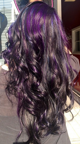 the gallery for gt black blue and purple hair
